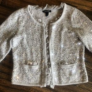 White House Black Market Large sequin cardigan